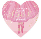 This is a pink kids valentines day card by Gina Grittner called Heart Twirl with foil-pressed printing on signature in standard.