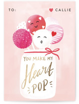 This is a pink kids valentines day card by chocomocacino called croustilant with foil-pressed printing on signature in standard.
