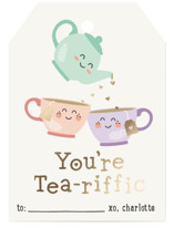 This is a beige kids valentines day card by Erica Krystek called Tea-riffic with foil-pressed printing on signature in standard.