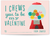 This is a pink kids valentines day card by Annie Holmquist called Chews you with foil-pressed printing on signature in standard.