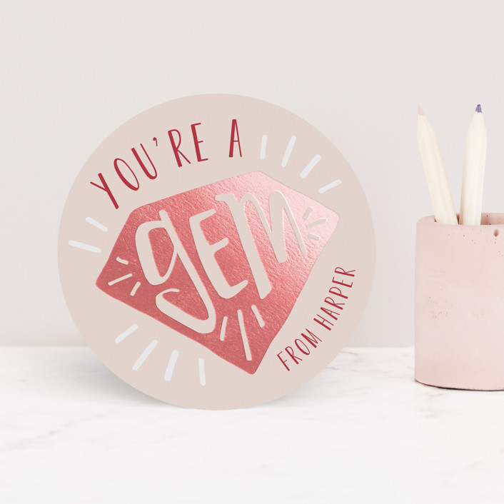 """Gem"" - Foil Valentine Cards in Peony by JeAnna Casper."