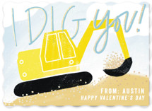 This is a yellow kids valentines day card by Krissy Bengtson called I Dig You with foil-pressed printing on signature in standard.
