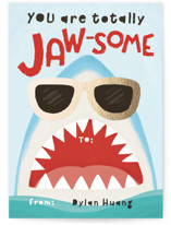 This is a blue kids valentines day card by Yaling Hou Suzuki called Totally Jaw-some Shark with foil-pressed printing on signature in standard.