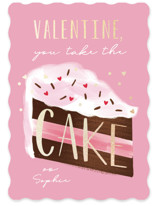 This is a pink kids valentines day card by Rebecca Durflinger called take the cake with foil-pressed printing on signature in standard.