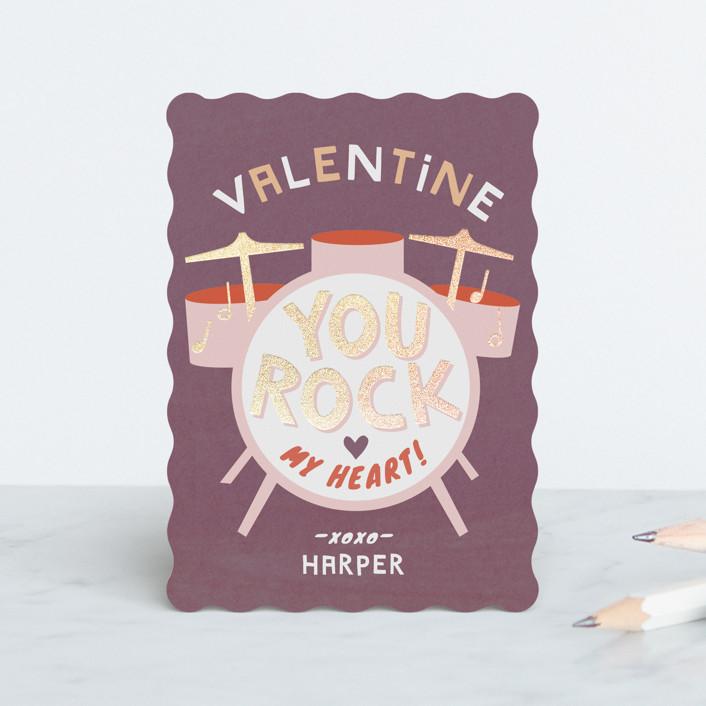 """heart beats"" - Foil Valentine Cards in Plum by Robin Ott."