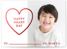 This is a red kids valentines day card by Jessica Ogden called Happy Heart Day with foil-pressed printing on signature in standard.