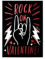 This is a black kids valentines day card by Frooted Design called Rock On with foil-pressed printing on signature in standard.