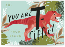 This is a green mailed classroom valentines card by Alethea and Ruth called T-Rex-riffic with flat printing on signature in petite.
