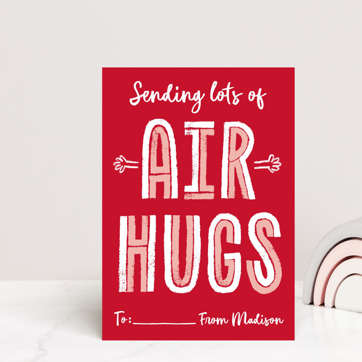 """""""Air Hugs"""" - Mailable Classroom Valentine's Day Cards in Red Apple by Erica Krystek."""