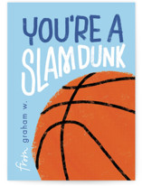 This is a blue mailed classroom valentines card by Erin L. Wilson called Basketball with flat printing on signature in petite.