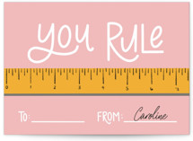 This is a pink mailed classroom valentines card by Lauren Jinhee called Ruler with flat printing on signature in petite.