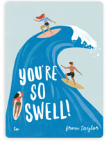 This is a blue mailed classroom valentines card by Karidy Walker called surf swell with flat printing on signature in petite.