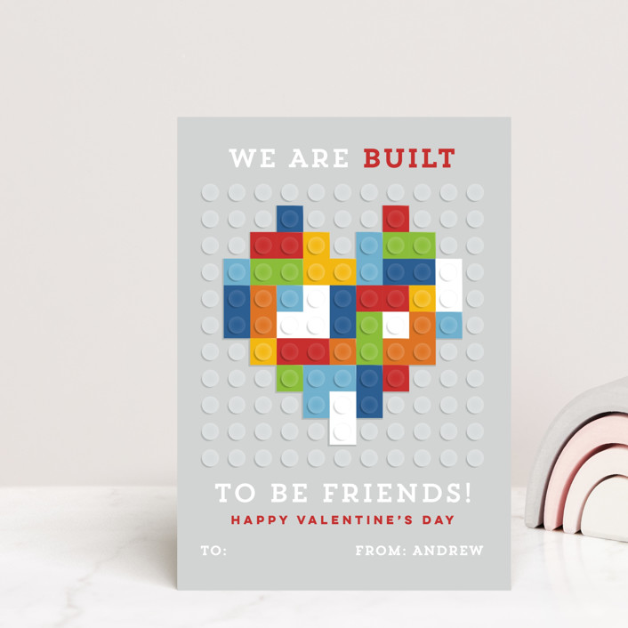 """""""Built to be friends"""" - Mailable Classroom Valentine's Day Cards in Brights by Michelle Taylor."""