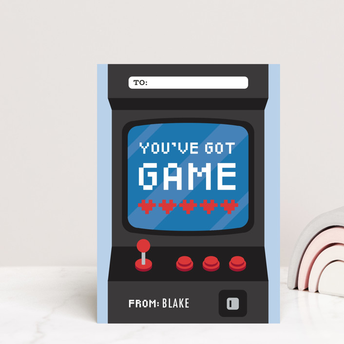 """""""Game"""" - Mailable Classroom Valentine's Day Cards in Navy by Jen Banks of Ink and Letter."""