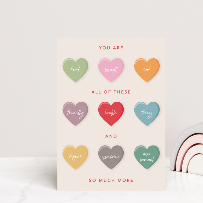 """""""Love Candy"""" - Mailable Classroom Valentine's Day Cards in Ruby by Mansi Verma."""