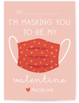 This is a pink mailed classroom valentines card by Annie Holmquist called Mask you with flat printing on pearlescent in petite.