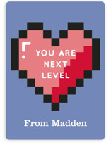 This is a blue mailed classroom valentines card by Baumbirdy called Next Level Valentine with flat printing on signature in petite.