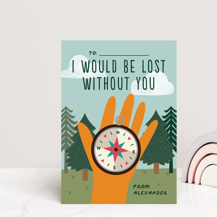 """""""Lost without you"""" - Mailable Classroom Valentine's Day Cards in Pine by Annie Holmquist."""