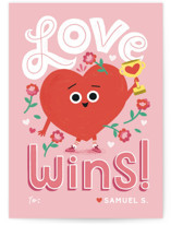 This is a pink mailed classroom valentines card by Morgan Ramberg called Love Wins with flat printing on signature in petite.