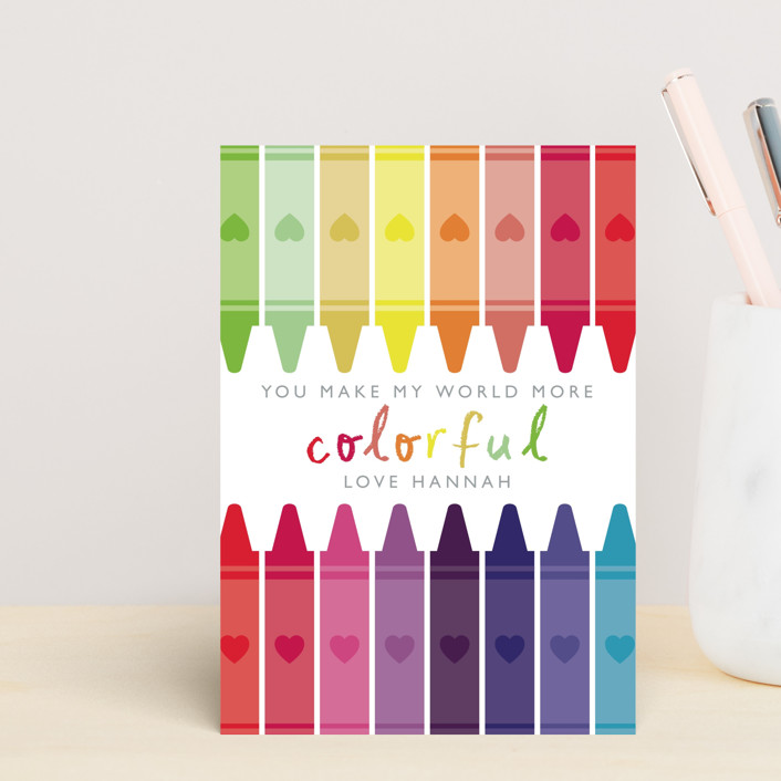 """Colorful"" - Mailable Classroom Valentine's Day Cards in Rainbow by Caitlin Considine."