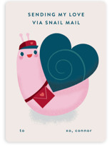 This is a red mailed classroom valentines card by Lori Wemple called Snail Mail with flat printing on signature in petite.