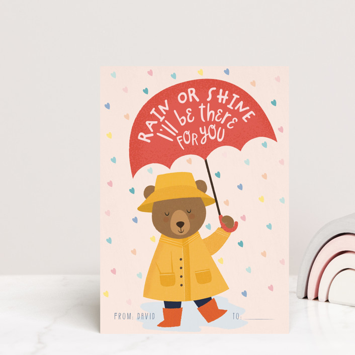 """I'll be there for you"" - Mailable Classroom Valentine's Day Cards in Rose by Sabrin Deirani."