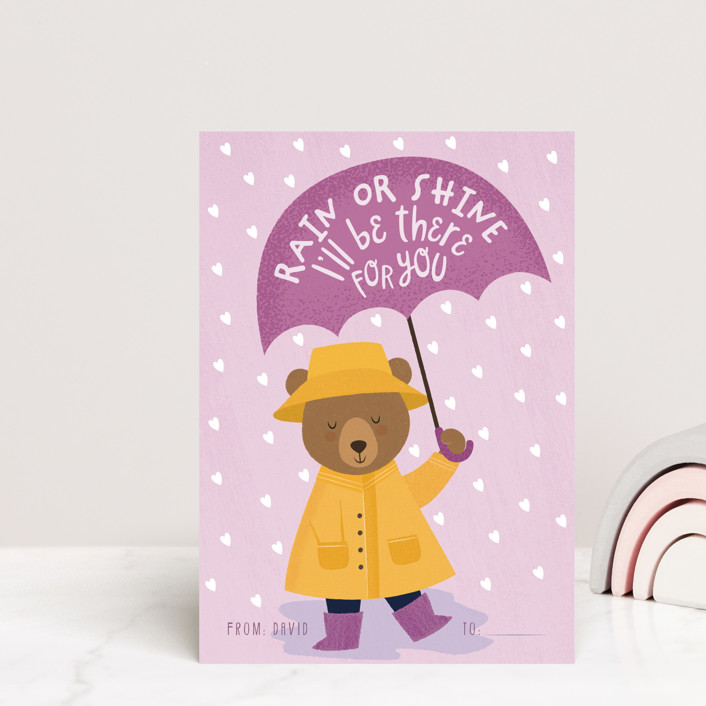 """""""I'll be there for you"""" - Mailable Classroom Valentine's Day Cards in Rose by Sabrin Deirani."""