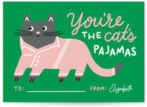 This is a green mailed classroom valentines card by Genna Blackburn called Cat's Pajamas with flat printing on signature in petite.