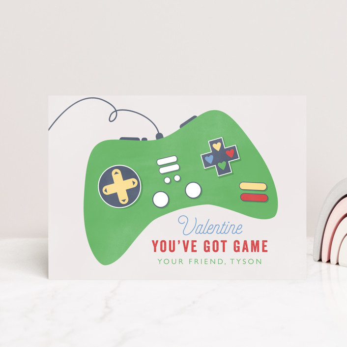 """""""Got Game"""" - Postcard Classroom Valentine's Day Cards in Grass by Bethany Anderson."""