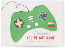 This is a green mailed classroom valentines card by Bethany Anderson called Got Game with flat printing on signature in postcard.