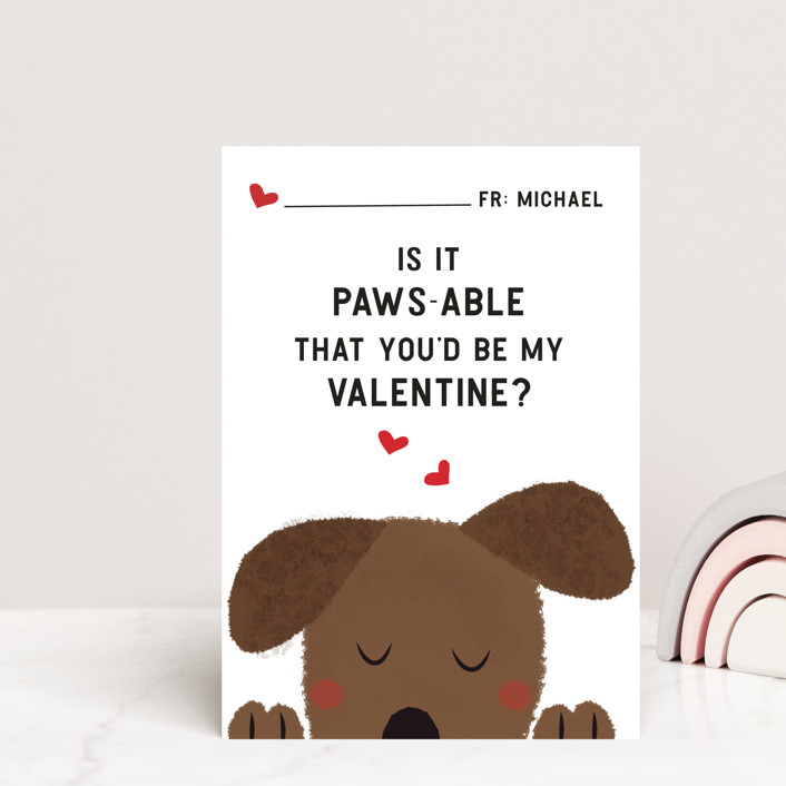 """""""Paws"""" - Postcard Classroom Valentine's Day Cards in Snow by Susan Brown."""