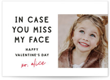 This is a white mailed classroom valentines card by Lori Wemple called Miss My Face with flat printing on signature in postcard.