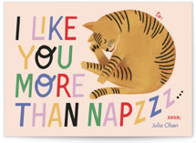 This is a pink mailed classroom valentines card by Pati Cascino called More Than Naps with flat printing on signature in postcard.