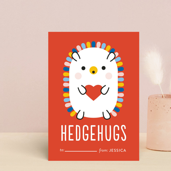 """Rainbow Hedgehog"" - Postcard Classroom Valentine's Day Cards in Crimson by Genna Blackburn."