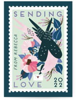 This is a blue mailed classroom valentines card by Eve Schultz called Postage stamp with flat printing on signature in postcard.