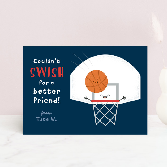 """Basketball Swish"" - Postcard Classroom Valentine's Day Cards in Navy by Kacey Kendrick Wagner."