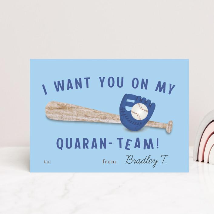 """my quaranteam"" - Postcard Classroom Valentine's Day Cards in Blush by Deborah Chou."