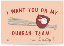 This is a pink mailed classroom valentines card by Deborah Chou called my quaranteam with flat printing on signature in postcard.