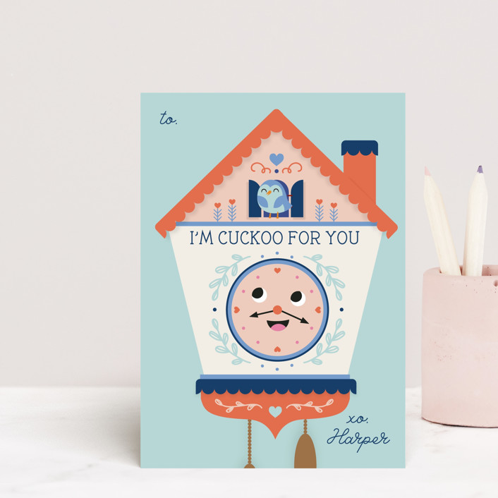 """""""Cuckoo for you"""" - Postcard Classroom Valentine's Day Cards in Mint by Annie Holmquist."""