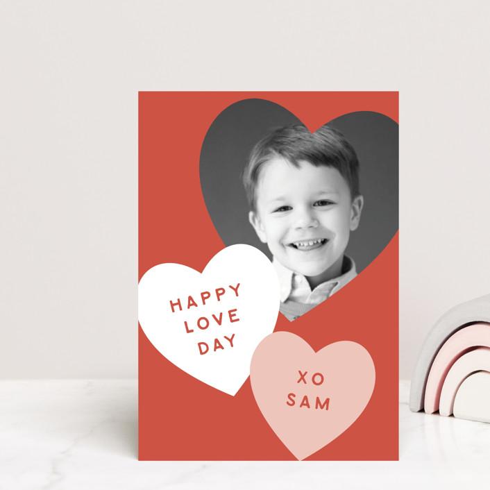 """Happy Love Day"" - Postcard Classroom Valentine's Day Cards in Cinnamon by Angela Garrick."
