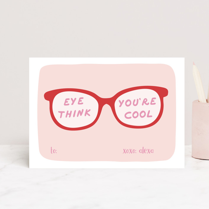 """Eyes"" - Postcard Classroom Valentine's Day Cards in Ruby by Tennie and Co.."