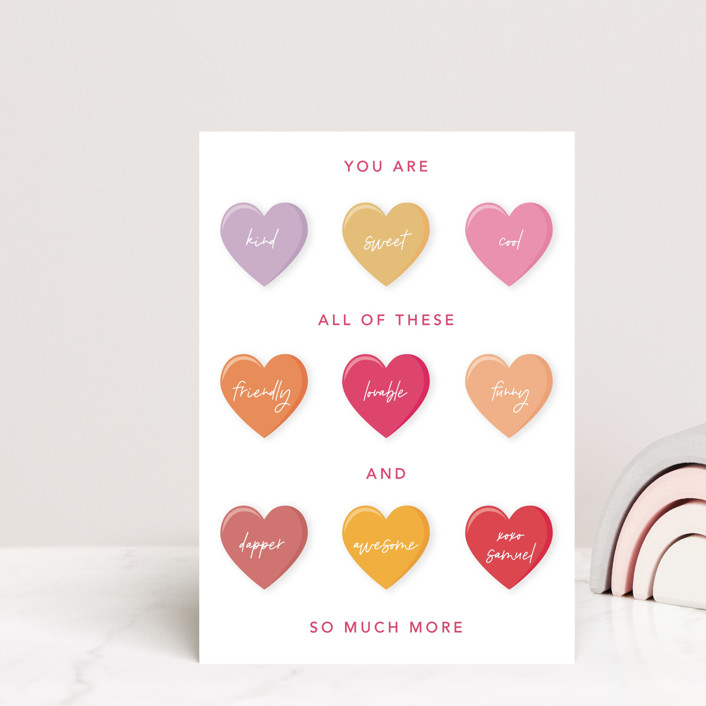 """""""Love Candy"""" - Postcard Classroom Valentine's Day Cards in Ruby by Mansi Verma."""