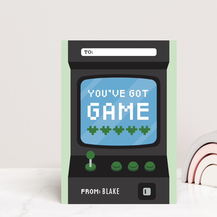 """""""Game"""" - Postcard Classroom Valentine's Day Cards in Navy by Jen Banks of Ink and Letter."""