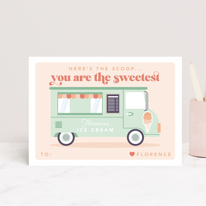 """""""Here's The Scoop"""" - Postcard Classroom Valentine's Day Cards in Pistachio by Caitlin Considine."""