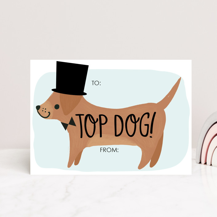 """""""Top Dog"""" - Postcard Classroom Valentine's Day Cards in Aqua by Itsy Belle Studio."""