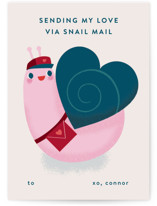This is a red mailed classroom valentines card by Lori Wemple called Snail Mail with flat printing on signature in postcard.