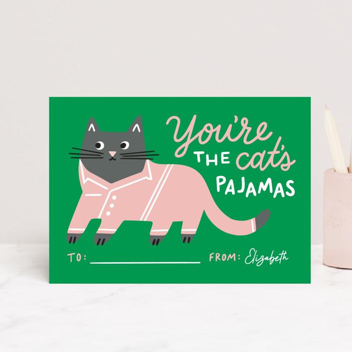 """Cat's Pajamas"" - Postcard Classroom Valentine's Day Cards in Emerald by Genna Blackburn."