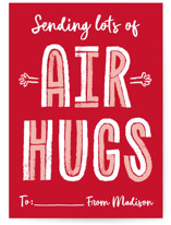 This is a red mailed classroom valentines card by Erica Krystek called Air Hugs with flat printing on signature in postcard.