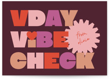 This is a purple mailed classroom valentines card by Annie Clark called Vibe with flat printing on signature in postcard.