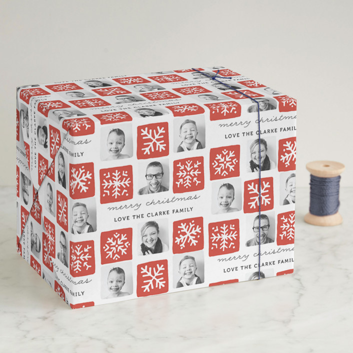 """Snowflake Squares"" - Modern, Preppy Wrapping Paper in Crimson by Kelly Nasuta."